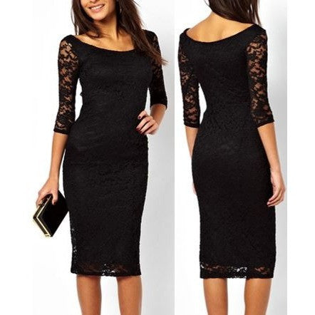 Pretty Lady Black Lace Overlay Evening Midi Dress