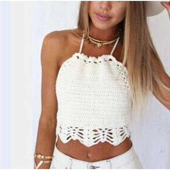 New Summer Sexy Hollow Out Lace Vintage White Crochet Bikini Top Swimwear