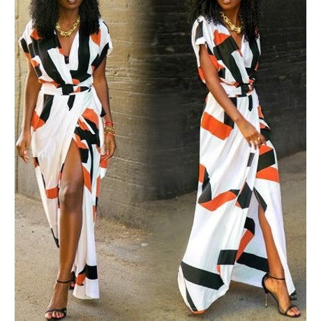 Street Style Geometric Block Maxi Dress with Short Sleeves