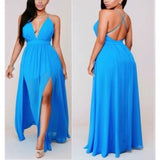Sexy V-Neck Solid Color Chiffon Long Dress