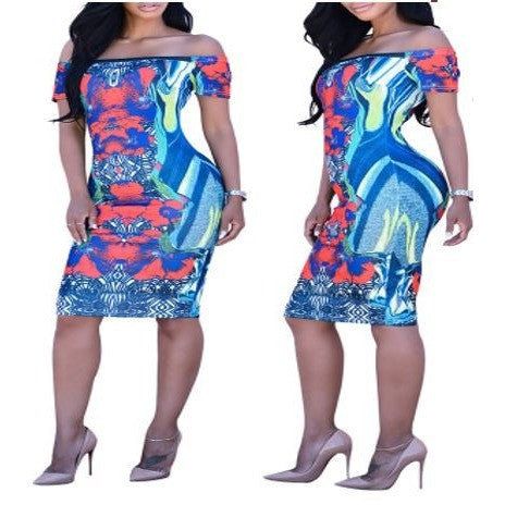 Sublimation Sexy Off Shoulder Bodycon Dress