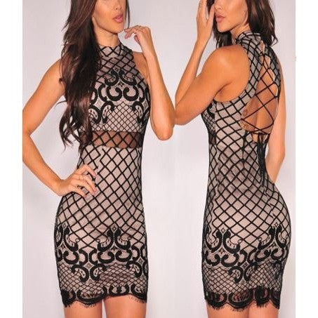 Party Night Sexy Black Mesh Dress