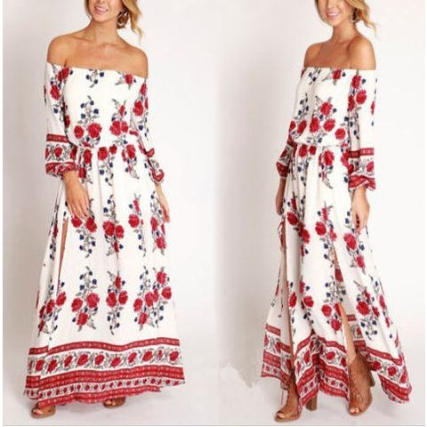 Women Fashion Bohemia Off Shoulder Floral Long Sleeve Split Maxi Beach Dress