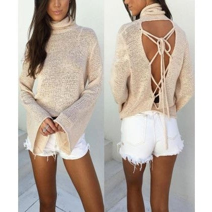 Criss Cross Back Wool Sweater Tops