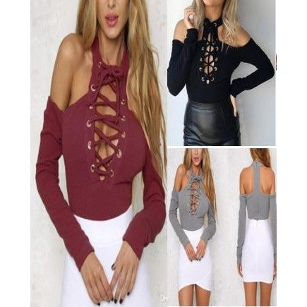 Sexy Lace-Up  Cut-Out Tops
