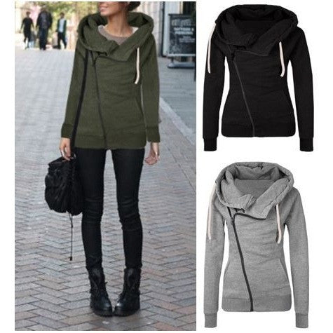 Plain Color High Neck Hoody