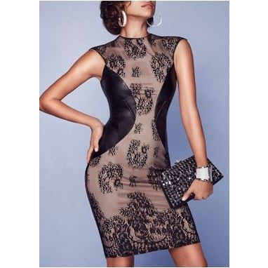 Formal Black Leather Patchwork Lace Dress
