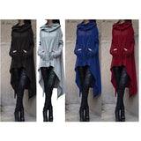 Plain Color High-Low Long Hoody
