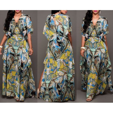 Enthic Print V-Neck Maxi Dress with Bat Sleeves