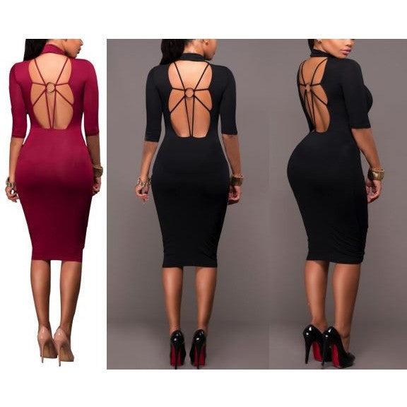 Long Sleeve Midi Dress with Open Back