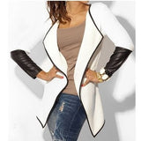 Fashion White, Grey or Black Open Neck Long Sleeve Coats