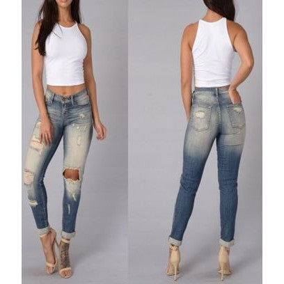 Sexy Cut-Out High Waist Jeans