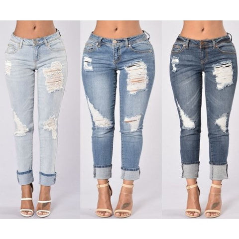 Sexy Cut-Out Fringe High Waist Strech Jeans