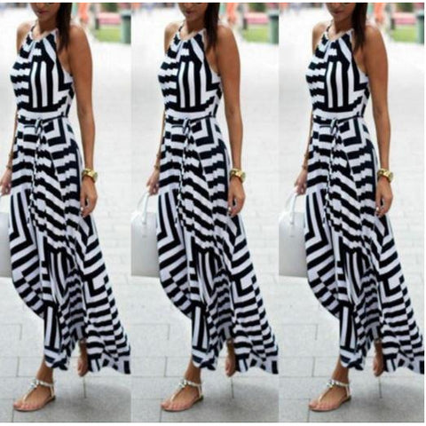 Boho Sleeveless Long Maxi Dress Halterneck Evening Striped dress