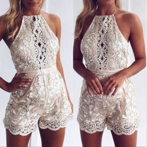 Women Sequins Deep V Neck Short Party Clubwear Bodycon Short Romper