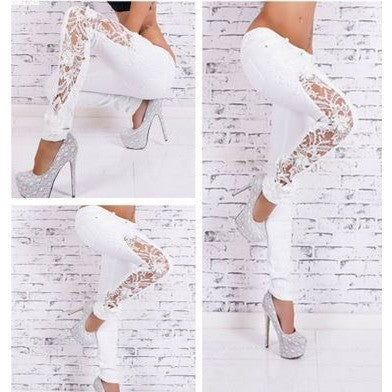 Cut-Out Floral Lace Stylish White Jeans