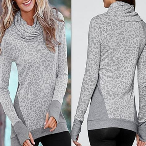 Long Sleeve Leopard Gray Pullover with Pleated Neckline
