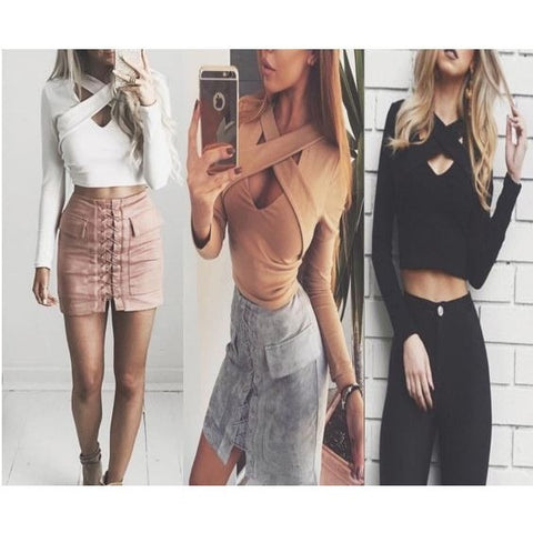 Sexy Cut-Out Long Sleeve Crop Top