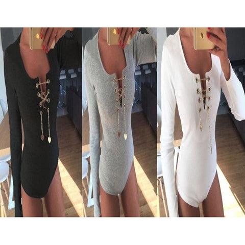 Simple V Neck Full Woman Jumpsuit