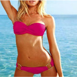 NEW Womens Push-up Padded Bandeau Top & Bottom Bikini Swimwear