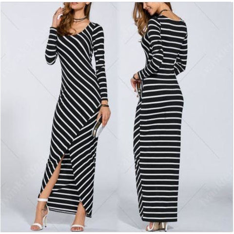 Fashion Women Striped Beach Evening Cocktail Gown Long Maxi Boho Dress