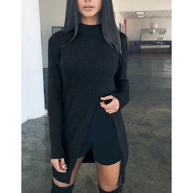 O-Neck Plain Sweater with Side Split