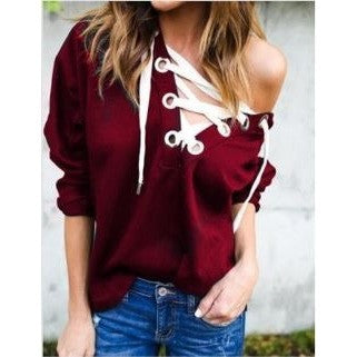 Plain Color Lace-Up Sexy Pullovers