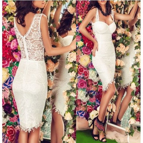 White Lace Cupped Bandage Dress