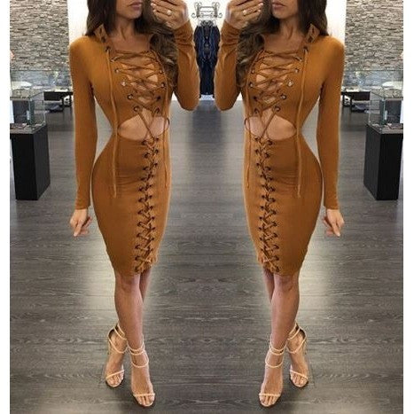 Lace-Up Sexy Sheer Bodycon Dress