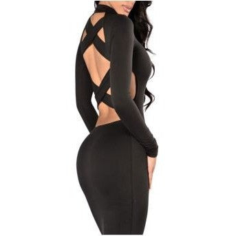Sexy Pure Bodycon Bandage Dress with Cross