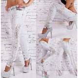 Casual Side Lace-up Design White Denim Mid Skinny Jeans