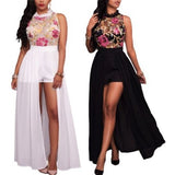 White Or Black Sheer Mesh Embroidery Chiffon Romper Maxi Dress/Shorts