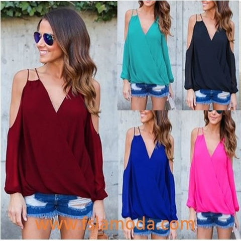 Stylish V-neck Bare Shoulder Chiffon Top