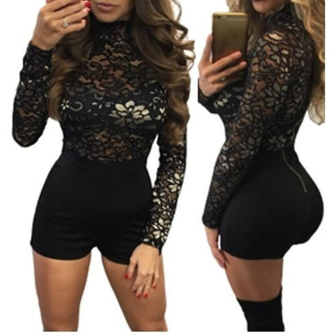 Long Sleeves Lace Top Romper