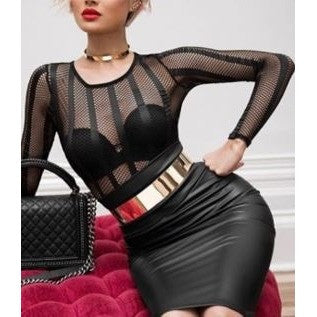 Nude Fishnet Sexy Black Party Dress