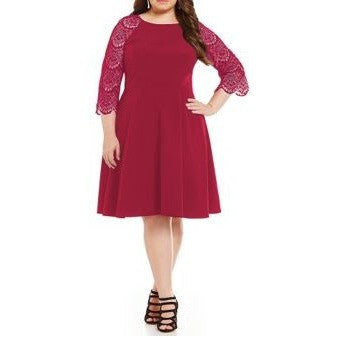 Plus Size A-Line Dress with Lace Sleeves