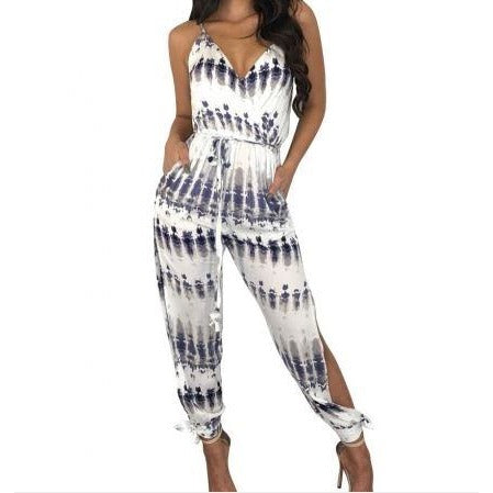 Print Straps Jumpsuit with Ripped Legs