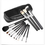 12 Piece Makeup Brushes & Leather Zipper Bag Foundation Powder Blush Cosmetic Tool