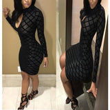 Key-Hole Black Bodycon Bandage Dress