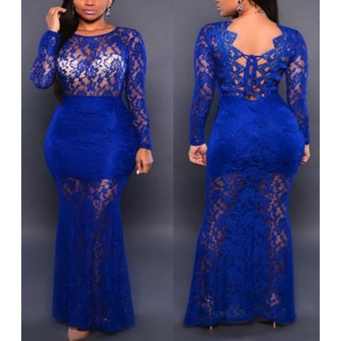 Blue Lace Long Sleeve Sexy Mermaid Evening Dress