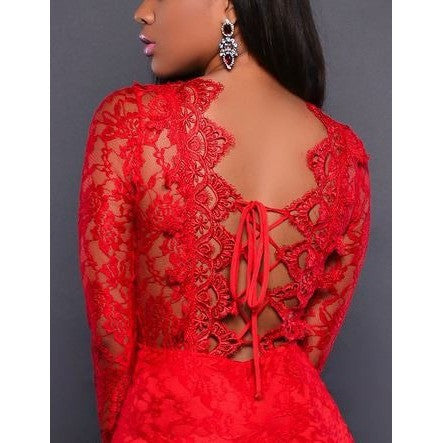 Red Lace Long Sleeve Sexy Mermaid Evening Dress