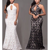 Lace Sexy Plung Halter Evening Dress