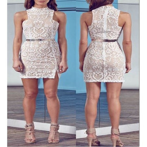 White Lace Round Neck Sleeveless Bodycon Dress