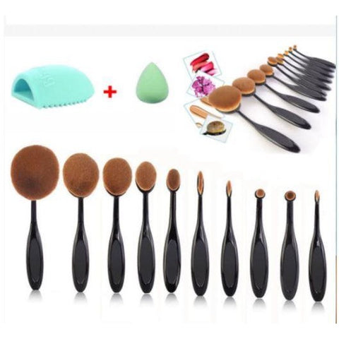 10 Piece Makeup Foundation Brushes Oval Cream Puff Cosmetic Toothbrush Shaped Power
