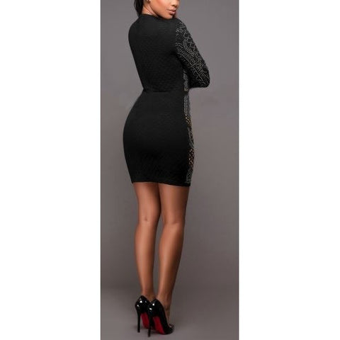 Rhinstone Bodycon Dress with Sleeves