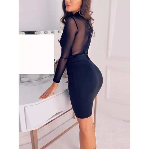 Long Sleeve Black Bead Mesh Dress
