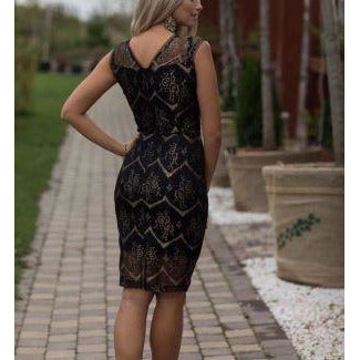 Black Lace Cut Out Elegant Party Dress