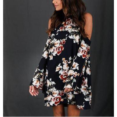 Cold Shoulder Flower Print Dress