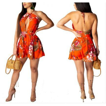 Flower Print Low Back Halter Romper