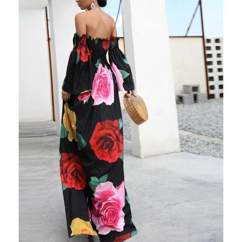 Floral Printed Off The Shoulder Maxi Dress